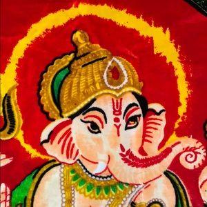 Vintage Velvet Hindi Ganesha Tapestry Wall Art